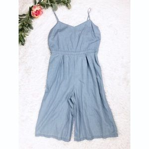 Chambray Light Blue Jumpsuit Romper